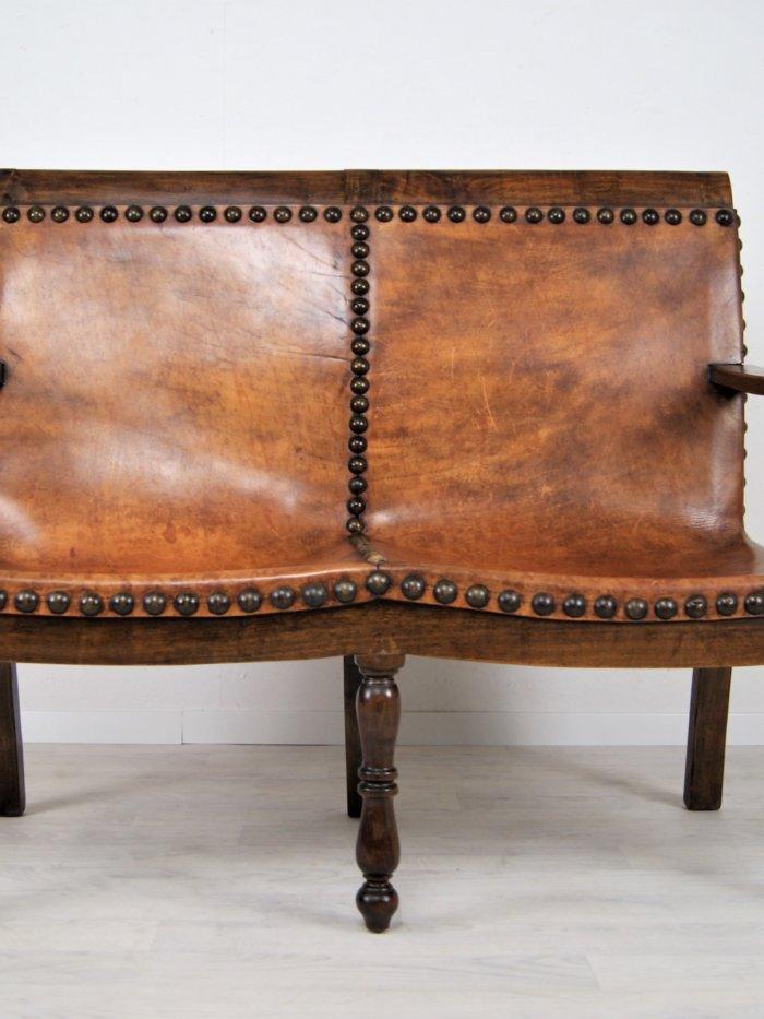 Antike Spanische Leder Sitzbank von 1880