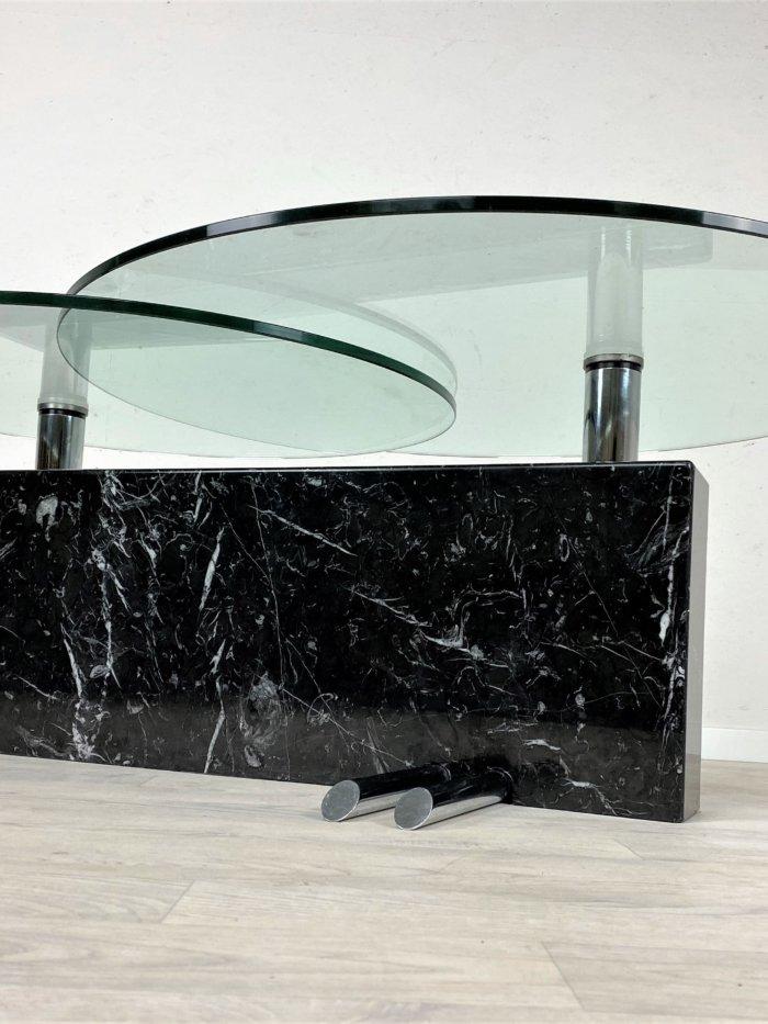 Retro Glastisch mit Granitsäule